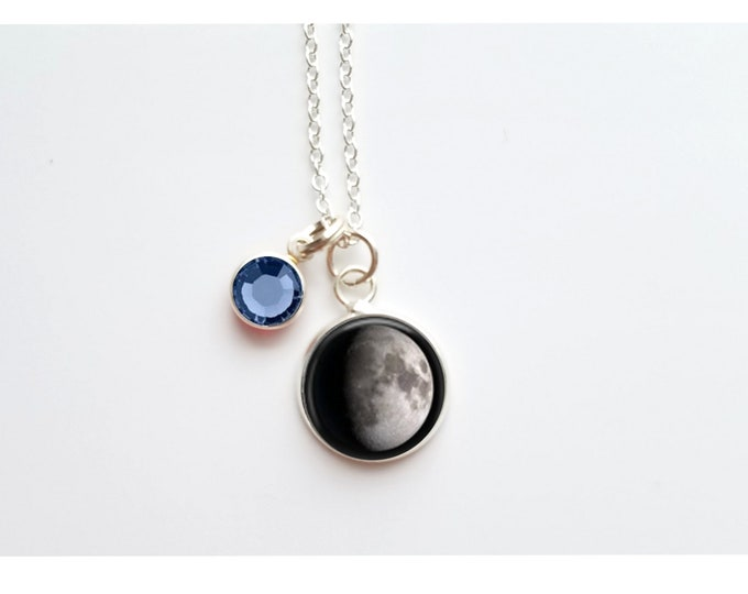 Custom tiny moon with birthstone  necklace, custom birth moon, moon necklace, sterling silver jewelry, personalized gift, custom jewelry