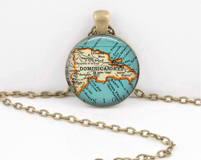 Dominican Republic Vintage Map Geography Gift Pendant Necklace or Key Ring