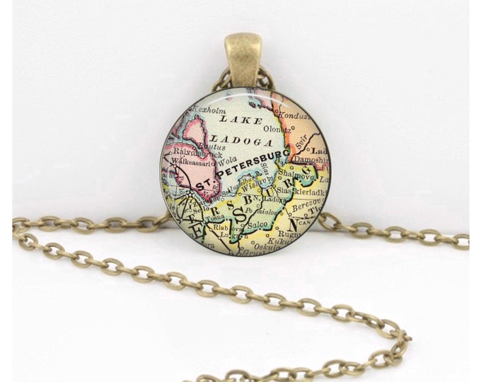 St. Petersburg Russia Vintage Map Geography Gift  Pendant Necklace or Key Ring