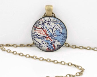 Williamsburg VA Jamestown Colonial Historic Park Map Necklace Vintage Map Pendant Necklace or Key Ring