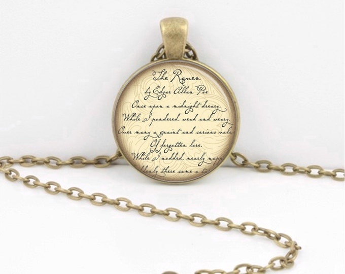 Edgar Allan Poe The Raven Literary Jewelery Poetry Pendant Necklace Jewelry or Key Ring