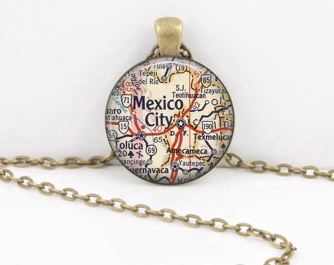 Mexico City Mexico Map Pendant Necklace or Key Ring
