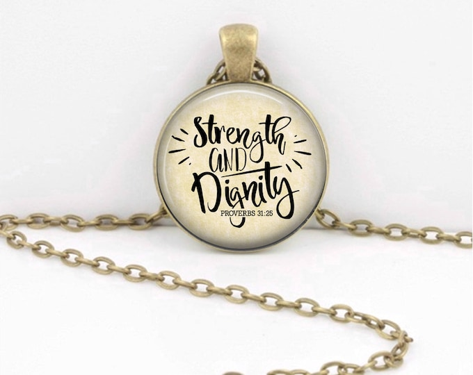 Strength and Dignity Proverbs 31 Christian Bible Verse Necklace Scripture Jewelry Mother's Day Gift or Key Ring