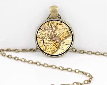 Vintage Map Charleston South Carolina Pendant Necklace or Key Ring