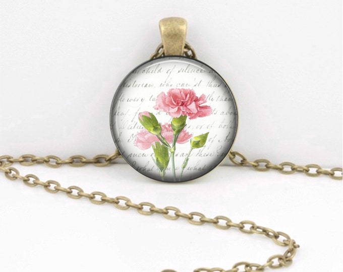Birth Month Flower Necklace - January - Carnation - Gift Pendant Necklace Jewelry or Key Ring