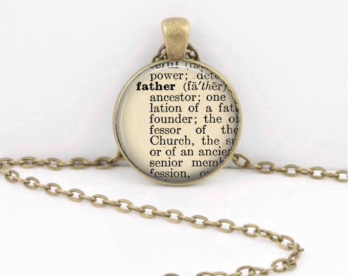 Father Vintage Dictionary Page Father's Day Gift for Dad Pendant Necklace or Key Ring