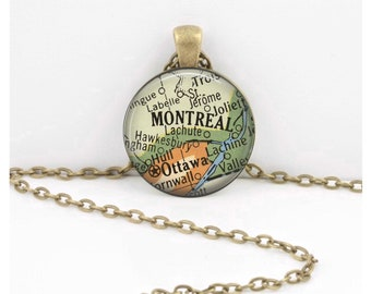 Montreal Quebec Canada Vintage 1950s Map Geography Gift  Pendant Necklace or Key Ring