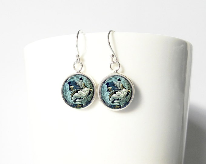 William Morris Dangle Pendant Earrings Sterling Silver Jewelry