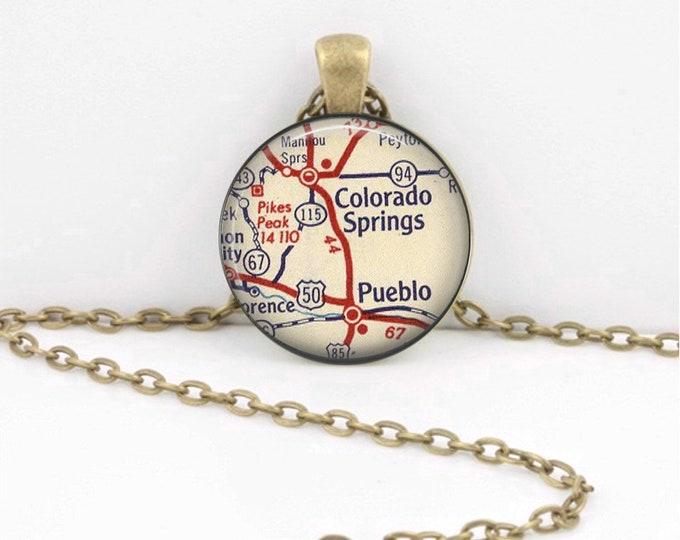 Colorado Springs Pikes Peak Pueblo Map Necklace Vintage Map Pendant Necklace or Key Ring