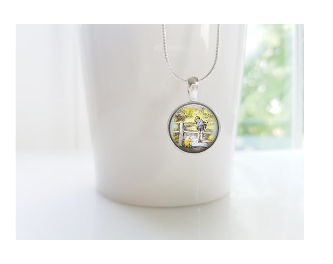 Winnie the Pooh and Christopher Robin Playing Pooh Sticks Sterling Silver Pendant Necklace