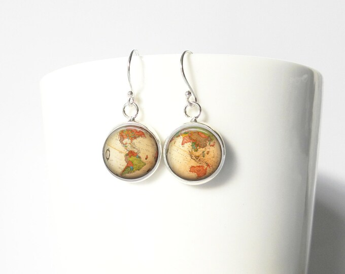Teacher Gift Globe Hemispheres Social Studies  Teacher Gift Map Geek Gift Dangle  Earrings Pendant Sterling Silver Dangle Jewelry