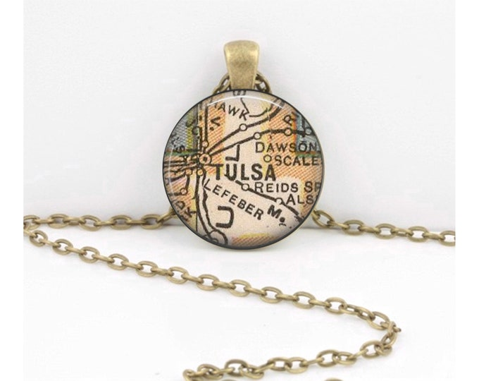Tulsa Oklahoma Map Pendant Vintage Map Geography Gift  Pendant Necklace or Key Ring