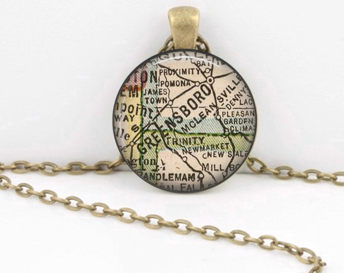 Greensboro North Carolina Vintage 1927 Map Geography Gift  Pendant Necklace or Key Ring
