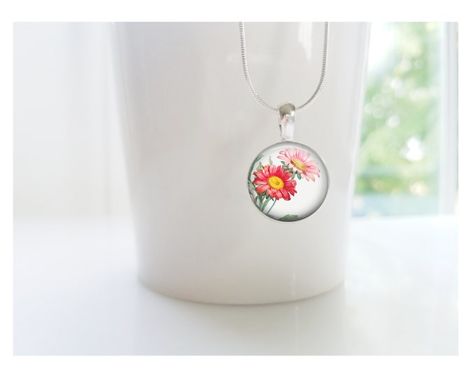 Aster September Birth Flower of the Month Pendant, Sterling Silver Birthday Necklace, Bridesmaid Gift, Birth Month Flower Gift