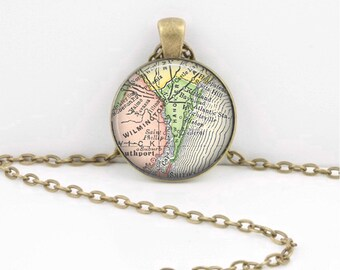 Wilmington North Carolina Map Geography Gift  Pendant Necklace or Key Ring