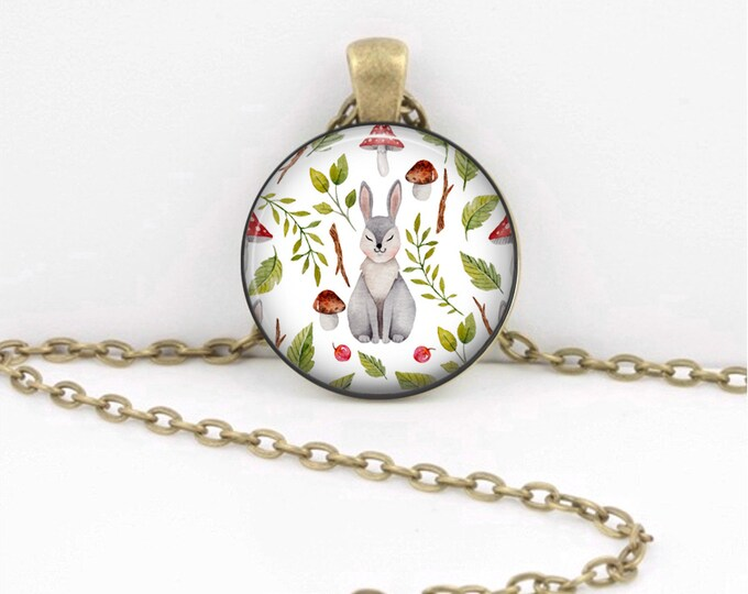 Bunny Rabbit Spring Summer Pendant Necklace Inspiration Jewelry or Key Ring