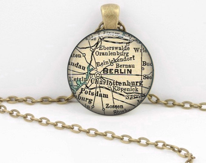 Berlin Germany Vintage 1938 Map Geography Gift  Pendant Necklace or Key Ring