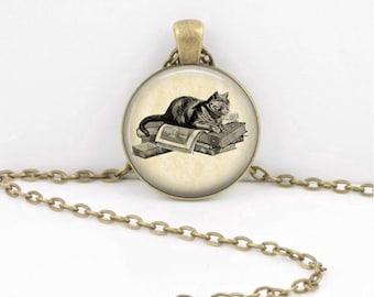 Cat Lover Book Lover Reader Bookish Vintage Illustration Pendant Necklace or Key Ring