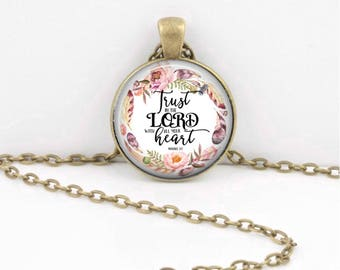 Bible Verse Necklace | Scripture Pendant | Key Ring | Christian Gift | Confirmation Gift | Trust in the Lord