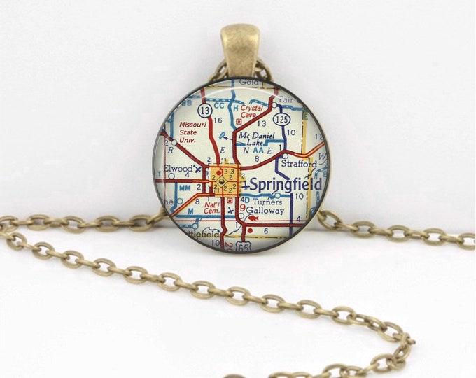 Springfield Missouri - Grad Gift - Missouri State U - Vintage Map Pendant Necklace or Key Ring
