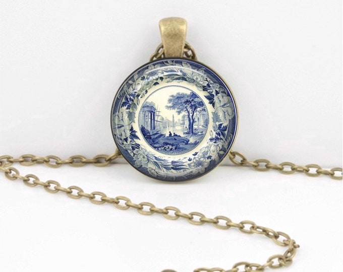 Vintage Toile Plate Blue and White Pendant Necklace Inspiration Jewelry or Key Ring