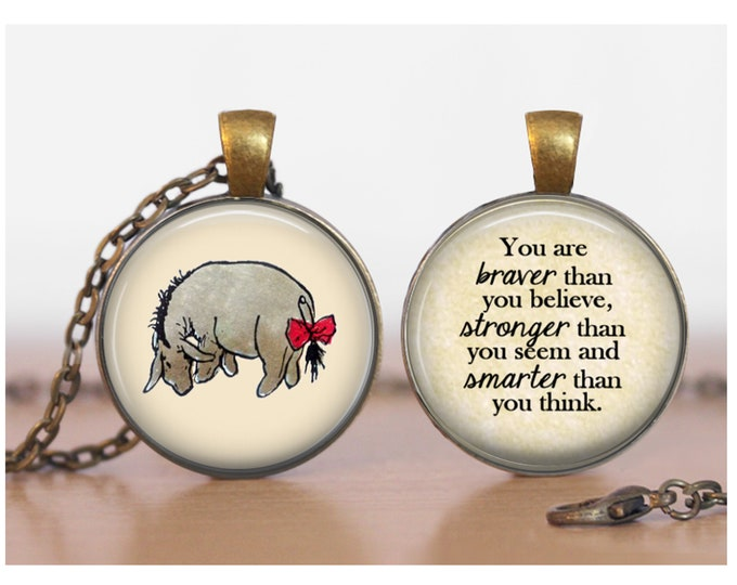 Eeyore Braver Stronger Winnie the Pooh Double Sided Pendant Double Pendant Two Sided Necklace