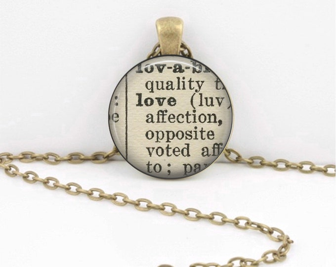 Love Dictionary Word Vintage Word Pendant Necklace or Key Ring