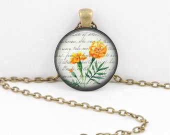 Birth Month Flower Necklace - October - Marigold - Gift Pendant Necklace Jewelry or Key Ring