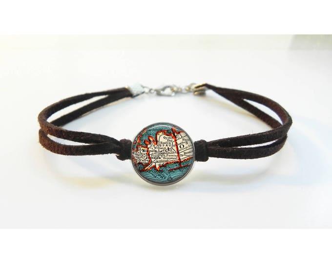 Long Island Nassau County New York Map Bracelet - Vintage Map - Leather Bracelet -  Map Jewelry