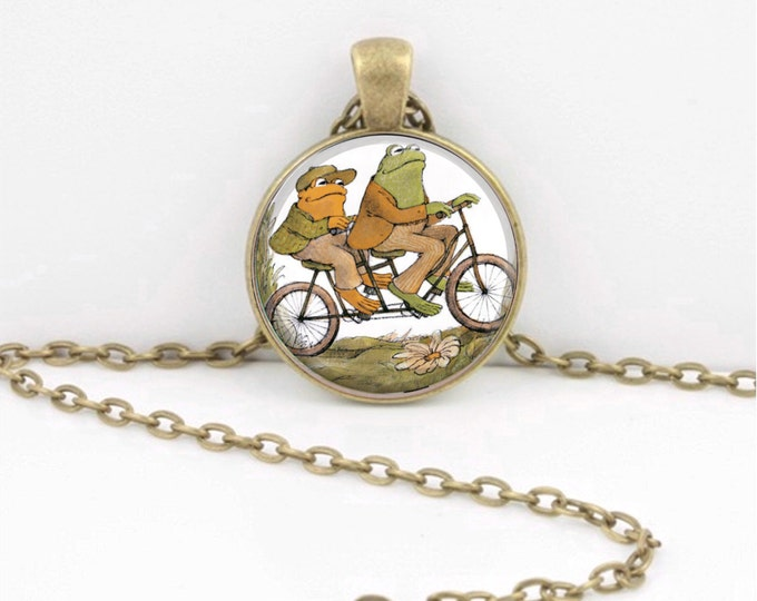 Frog and Toad Together are Friends Bicycle Glass Art  Pendant Necklace or Key Ring