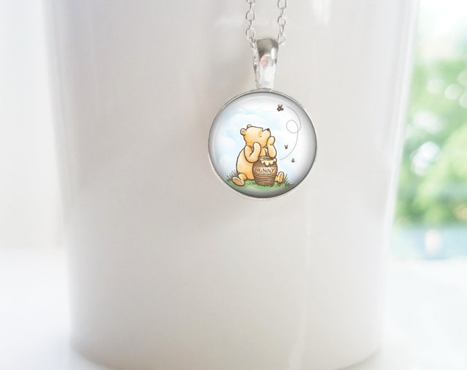 Winnie the Pooh and his Honey Pot Sterling Silver Pendant Necklace