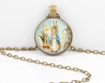 Peter Rabbit Beatrix Potter Classic Children's Story Glass Pendant Necklace or Key Ring