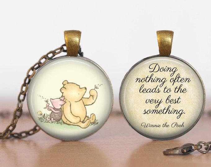"""Winnie the Pooh and Piglet """"Doing Nothing""""  Gift Winnie the Pooh and Piglet Pendant Two Sided Necklace or Key Ring"""
