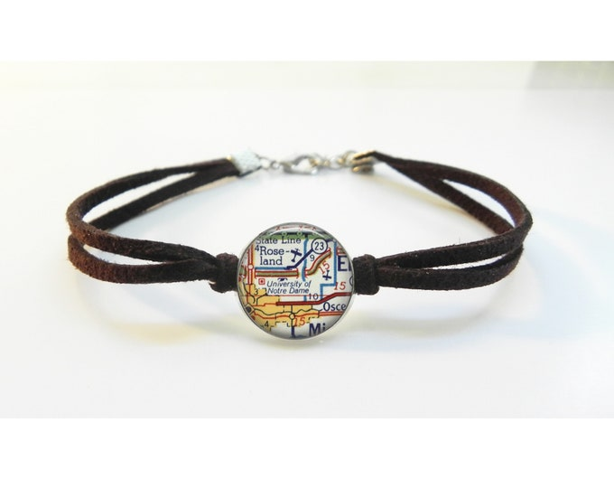 University of Notre Dame Map Bracelet - Vintage Map - Leather Bracelet -  Map Jewelry