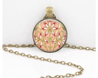 William Morris Pink Floral Victorian Vintage Print Art Pendant Necklace Inspiration Jewelry or Key Ring