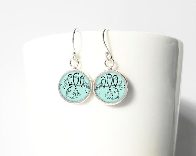 Three Little Birds Summer Blue Tiny Earrings Pendant Sterling Silver Dangle Jewelry