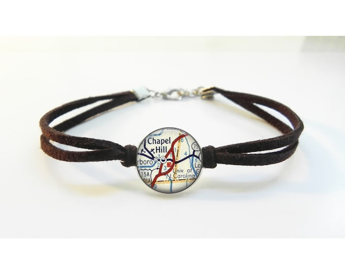 Chapel Hill UNC North Carolina Map Bracelet - Vintage Map - Leather Bracelet -  Map Jewelry