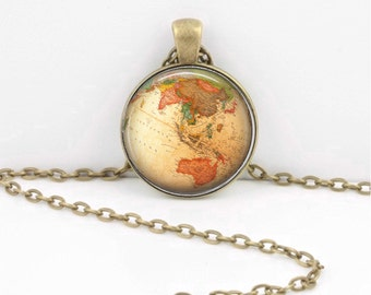 Vintage Globe Eastern Hemisphere Antique Map Geography Gift  Pendant Necklace or Key Ring