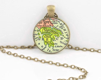 Greece Vintage Map Geography Gift  Pendant Necklace or Key Ring