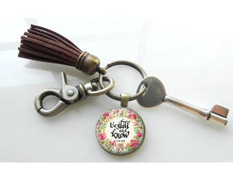 Be still Scripture Fellowship Christian Gift Key Ring Key Chain with Leather Tassel