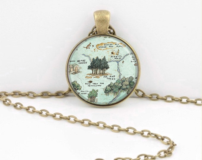 Winnie the Pooh Hundred Acre Wood Pendant Necklace or Key Ring