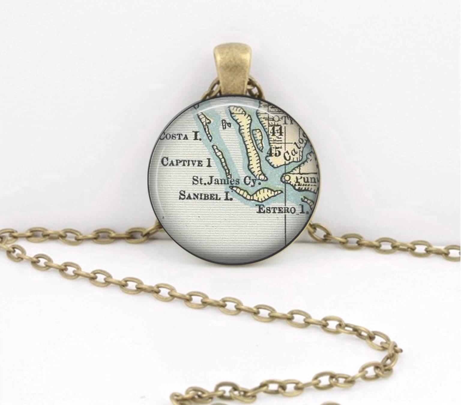 Sanibel Island Captiva Florida Map Pendant Necklace Key Ring