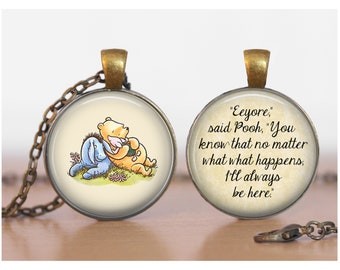 Pooh and Eeyore and Piglet Winnie the Pooh Double Sided Pendant Double Pendant Two Sided Necklace