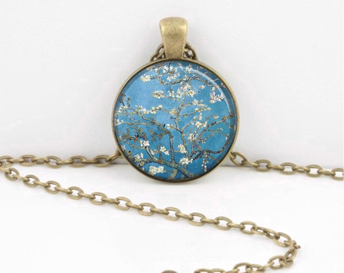 Dogwoods Van Gogh Flowers Spring  Art Pendant Necklace Inspiration Jewelry or Key Ring