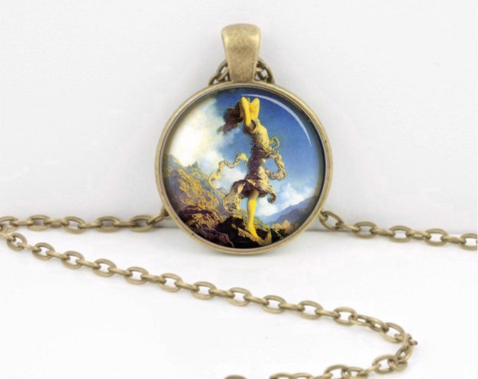 Maxfield Parrish Art Deco Art Nouveau Art Pendant Necklace Inspiration Jewelry or Key Ring