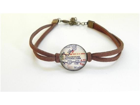 Yellowstone National Park Map Bracelet  Vintage Map  Leather