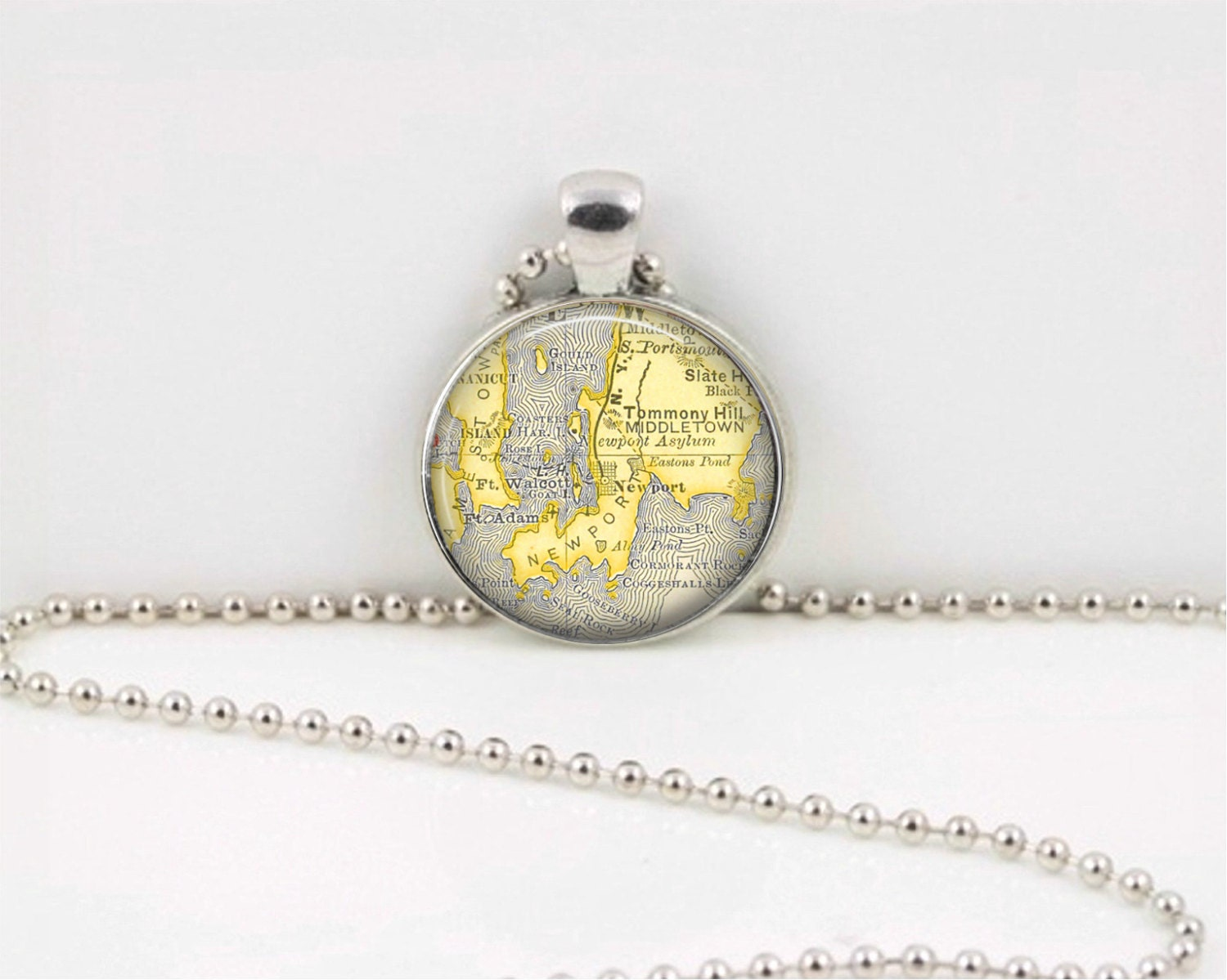 Block Island  Rhode Island RI  Vintage Map  Geography Gift  Pendant Necklace or Key Ring