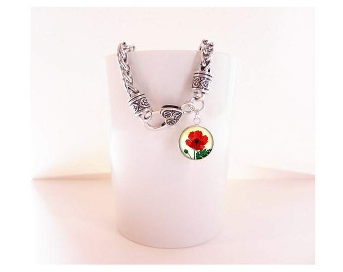 Poppy Floral Flower Silver Charm Bracelet  Heart Clasp Bracelet with Pendant