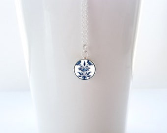 Tiny Blue and White Porcelain Pattern Pendant on Sterling Silver Chain Friendship Gift