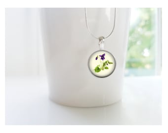 February Violet Flower of the Month Pendant, Sterling Silver Birthday Necklace, Bridesmaid Gift, Birth Month Flower Gift